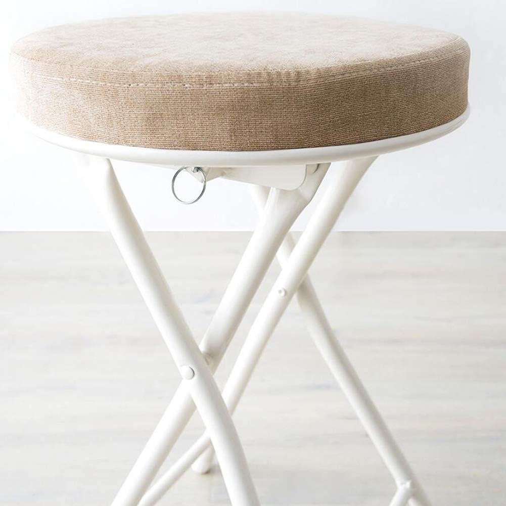 BYCSD Klapphocker Runden Stahlrahmen Backless Dining Chair, Gepolsterte Padded Startseite Frühstück Bar, 6-er Pack (Color : Gray) Khaki