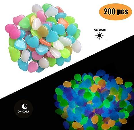 Fashion Easy - Paquete de 200 piedras de colores brillantes en la oscuridad para jardín,