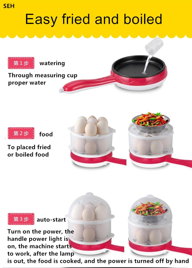 SEH- Go Rapid Egg Cooker,Double layer Multi Function, with Breakfast pan,Big Capacity,Can Adjustable size.with Poacher and Steamer Attachments(red color)