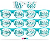 Team Bride Party Glasses - Novelty Sunglasses for Weddings, Bachelorette Parties and Bridal Showers (7pc Set, Robin Egg Blue)