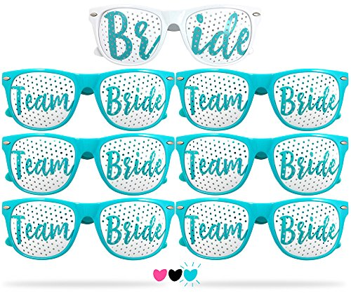 Team Bride Party Glasses - Novelty Sunglasses For Weddings, Bachelorette Parties and Bridal Showers (7pc Set, Robin Egg - With Egg Sunglasses