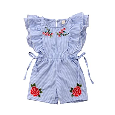 8ee370fc86 Toddler Baby Girl Flower Romper Kid Summer Stripe Ruffle Floral Bodysuits  Jumpsuit Outfits Clothes (1