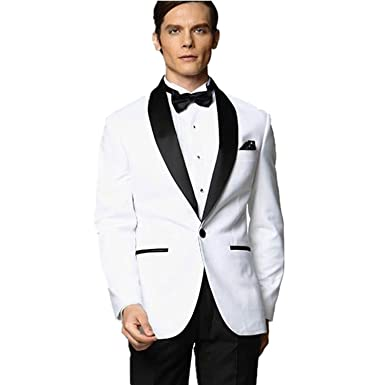 MYS Men's Custom Made Groomsman Tuxedo White Suit Black Pants Bow ...
