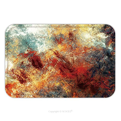 Flannel Microfiber Non-slip Rubber Backing Soft Absorbent Doormat Mat Rug Carpet Bright Artistic Splashes Abstract Painting Color Texture Modern Futuristic Pattern Multicolor 483212563 for Indoor/Outd - Wholesale Abstract Paintings