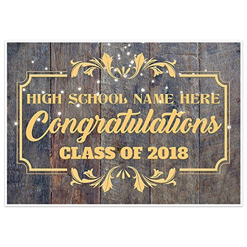 Lights and Faux Wood Prom Banner Personalized School Dance Party Backdrop