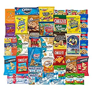 SnackBOX Care Package for College Students, Finals, Office, Camp and Back to School - Including Over 3 lbs of Chips, Cookies and Candy! (40 Count)