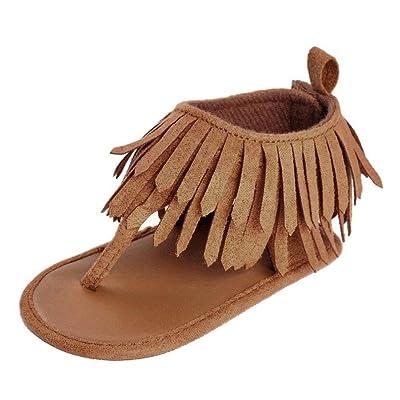 Kimloog Infant Baby Girls Moccasins Tassels Soft Rubber Sole Anti-Slip Toddler Sandals Prewalker Shoes: Clothing