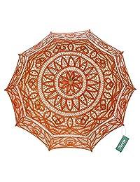 TopTie Lace Parasol Wedding Umbrella Bridal Shower Party Photo Prop Decoration-Orange-48 PCS