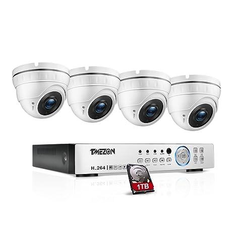 TMEZON 4 canales 1080P AHD hogar sistema de cámaras de seguridad DVR Kit 4 x HD ...