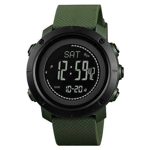 FeiWen Unisex Outdoor Militar Deportivo Digitales Brújula Relojes de Pulsera LED Electrónica Multifuncional Pulsómetro Altímetro Termómetro
