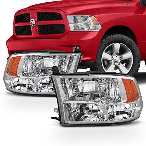 For 2009-2018 Dodge Ram Pickup Truck Chome Clear Lens Quad Headlight Lamp Set (Driver & Passenger Side)