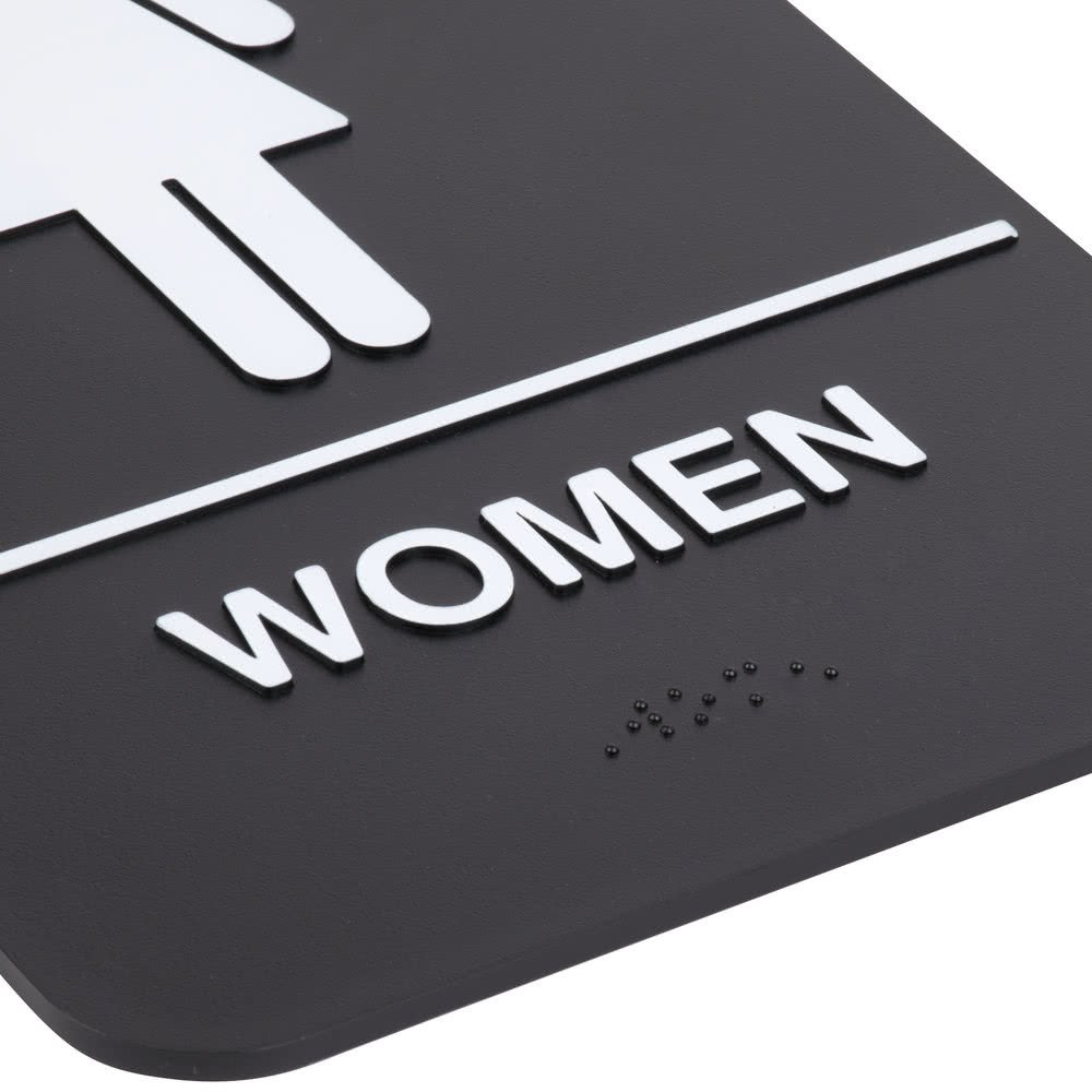''Men'' & ''Women'' Restrooms Sign Set with Braille, Toilet Door Plate for Business Restaurant, 6'' x 9'' by AborenCo (Image #4)