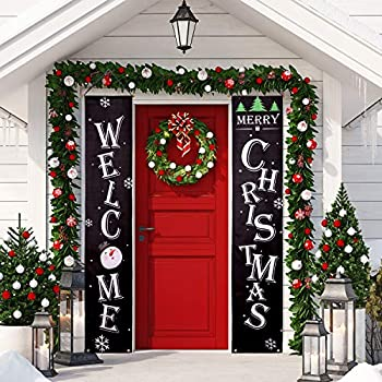 whaline christmas porch sign welcome and merry christmas hanging sign for home indoor outdoor porch wall christmas decoration