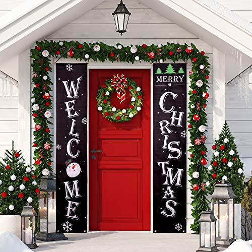 Whaline Christmas Porch Sign, Welcome and Merry Christmas Hanging Sign for Holiday Home Indoor Outdoor Porch Wall Christmas Decoration ()
