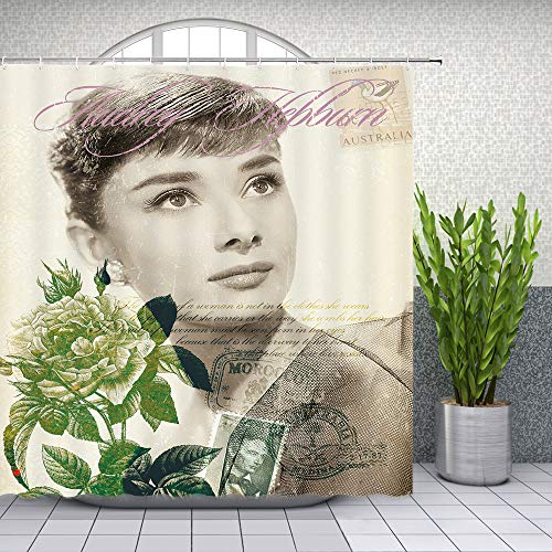 Audrey Hepburn Shower Curtain Sexy Beautiful Woman Classic Movie Star Old Photos Bathroom Decor Waterproof Polyester Fabric Home Bath Supplies Accessories Curtains Set 69 x 70 Inch With Hooks