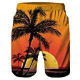 F_Gotal Men's Swimming Trunks Quick Dry Board Shorts 3D Tree Printed Swimming Shorts Boxer Briefs Swimwear Bathing Suits Orange