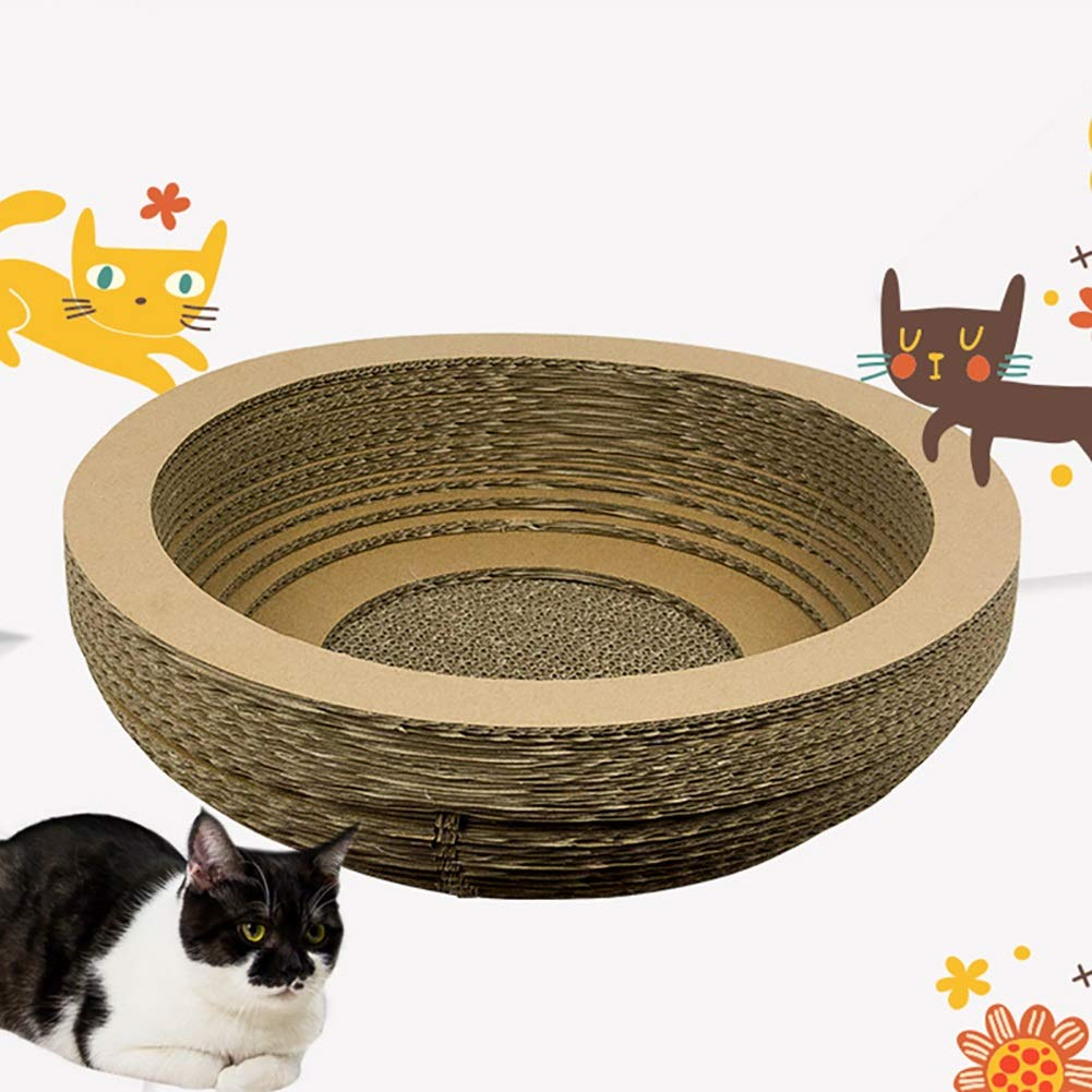 Cat Scratch Board Corrugated Paper Bowl Cat Litter Pet Toy Round Sharpening Device Claw Scraper Nest Scratch Wear Resistant Lounge Chair House Bed Scraper Catnip Climbing Play Building