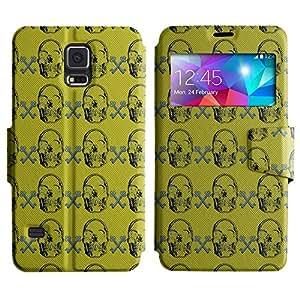 LEOCASE Dark Skull Funda Carcasa Cuero Tapa Case Para Samsung Galaxy S5 I9600 No.1002228