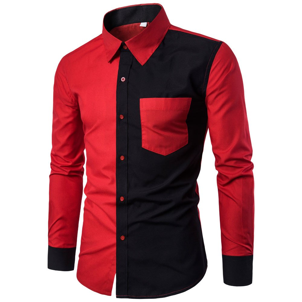 WM & MW Novelty Mens Shirt Long Sleeve Casual Pocket Button Red and Black Patchwork Shirt Slim Fit Stylish Dress Shirts Turndown Collar Tops (XL=(US:L), Red) by WM & MW