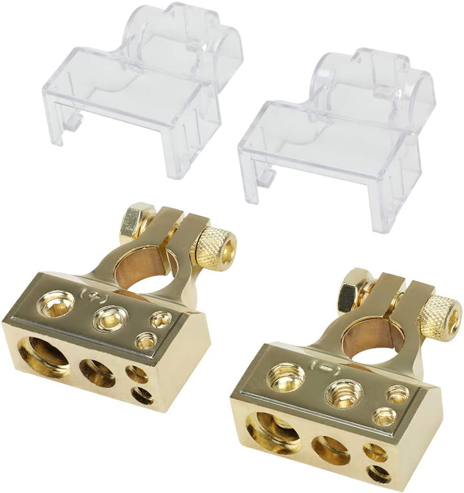 Boat Pair Motorcycle Car Battery Terminal Connectors Kit Positive and Negative Truck Marine JOYHO 0 4 8 10 AWG Car Battery Terminals with 2 Clear Covers Shims for Car