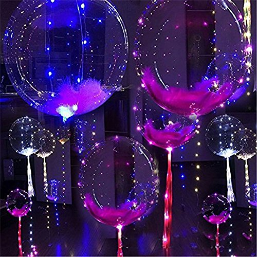 LED Multicolor Balloons - 5 pcs 18inch Luminous Transparent Blinking Light Up Balloon Flashing Glowing Colorful Light for Birthday Wedding Christmas Outdoor Festivals Party (Glowing Balloon)
