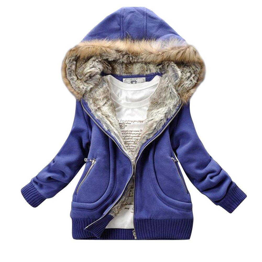 Ajetex Womens Cotton Faux Fur Hooded Coat Size XXL Color blue