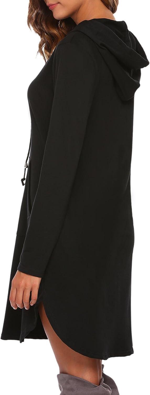 ACEVOG Womens Sweatshirt Long Sleeve Round Split Hem Hoodie Dress with Kangaroo Pockets