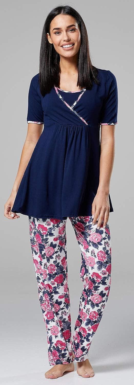 Top HAPPY MAMA Womens Maternity Nursing 3pcs Nightwear Set Pants Robe 558p