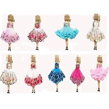 Ropa Para Barbie, Lance Home 6 Piezas Vestidos + 12 Pares de Zapatos Hechos a