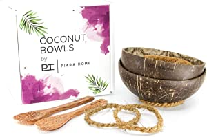 Set of 2 Natural Handmade Eco Friendly Coconut Bowls with spoons by Piara Home - For Smoothies, Nice Creams, Acai, Snacks And Decorations
