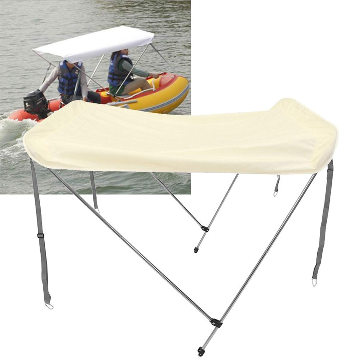 YULPING 2-4人インフレータブルボート折りたたみ式抗UVテントサンシェードオーニングトップカバーテントサンレインシェルター 玩具モデル屋外用品   B07QMHLQY9