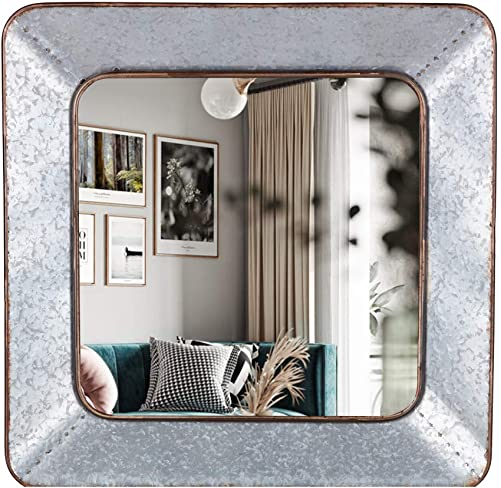 FENORI Galvanized Mirror for Wall – Industrial Square Mirror for Decor Farmhouse Vanity Mirror for Hallway, Accent, Living Room or Bedroom