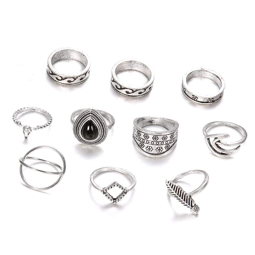 Slendima 10Pcs Bohemian Totem Feather Midi Knuckle Finger Rings Set Women Jewelry Gift Silver
