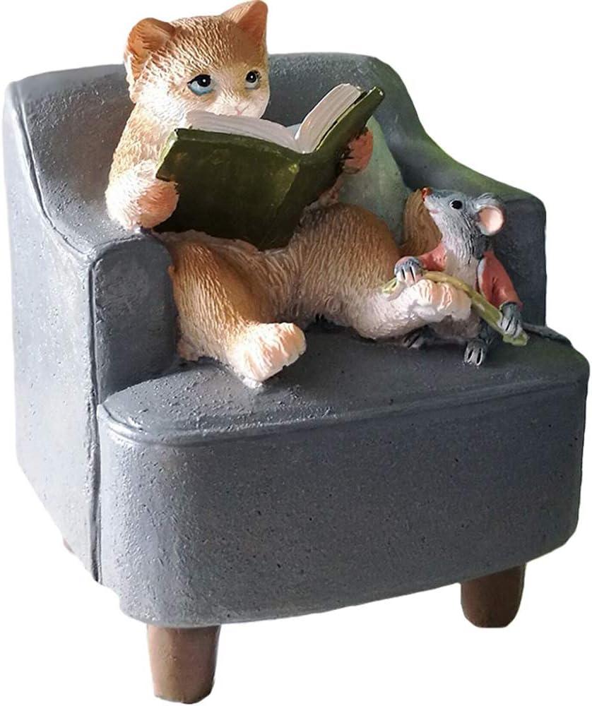 Amusing Mini Cat Reading Statue Figurine Ornament Home Garden Lawn Decor for Bookshelf Flowerpot