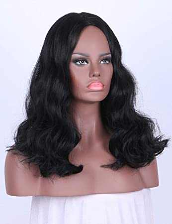 Amazon.com   Chantiche Cheap Short Bob Wavy Synthetic Wigs Fashion  Replacement Hair Women Black Wig for Women with Middle Parting   Beauty 7a487f8e94