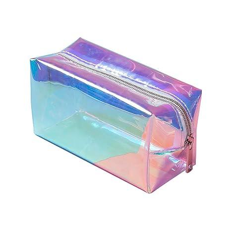 Comtervi - Neceser de Aseo Transparente para Viajes, Estuche de Maquillaje holográfico, Bolsa Grande para Mujeres y niñas, 16 x 8,5 x 9 cm
