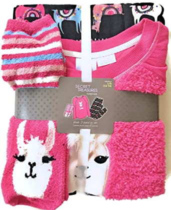 Womens Colorful No Drama Llama Plush Fleece 3-Piece Sleepwear Pajama Set Size L (