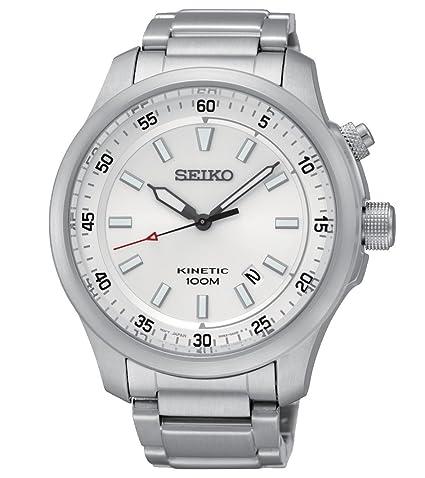 Seiko Kinetic para hombre-reloj analógico de cuarzo de acero inoxidable SKA683P1: Amazon.es: Relojes