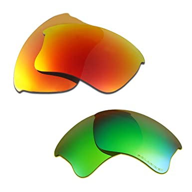 b840f9f35d4 Hkuco Plus Replacement Lenses For Oakley Flak Jacket XLJ Red Emerald Green  Sunglasses  Amazon.in  Clothing   Accessories