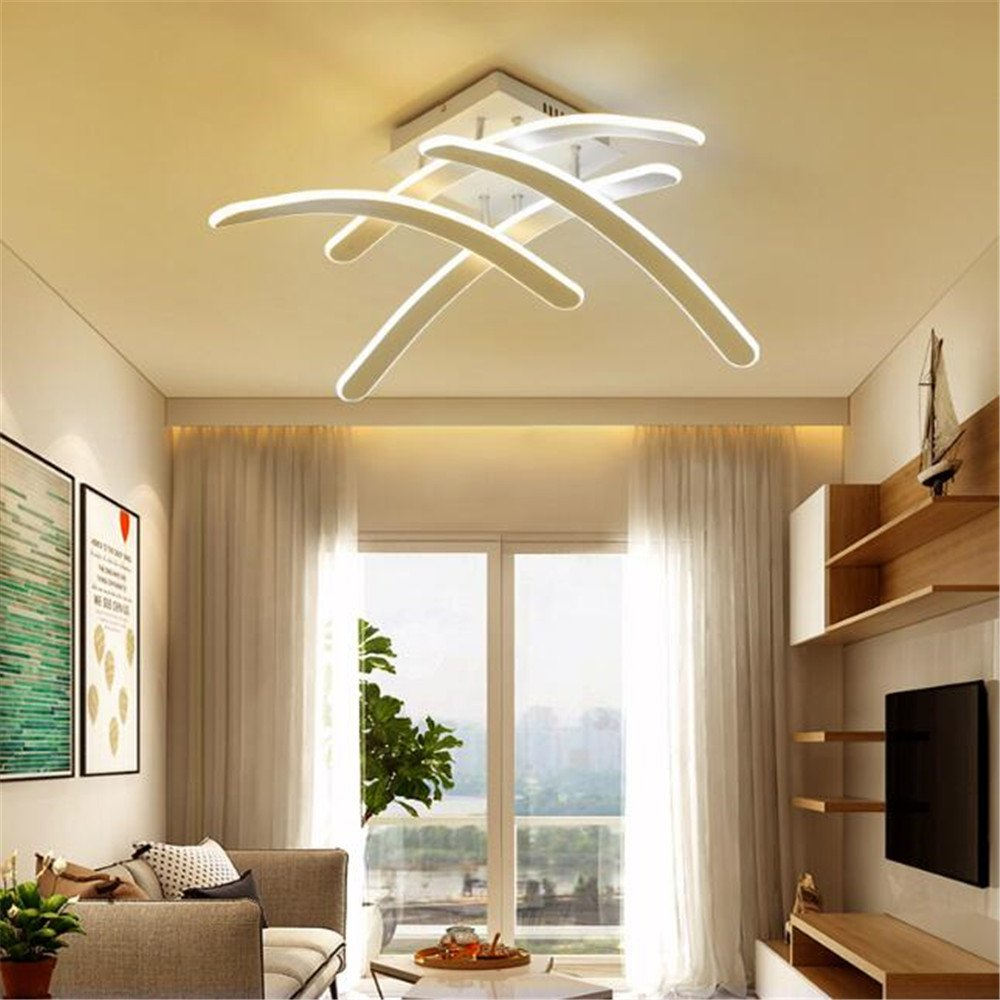 Chandelier modern led ceiling light fixture flush mount dimmable acrylic pandent light for bedroom living room dining room 110v 240v geometric art curves