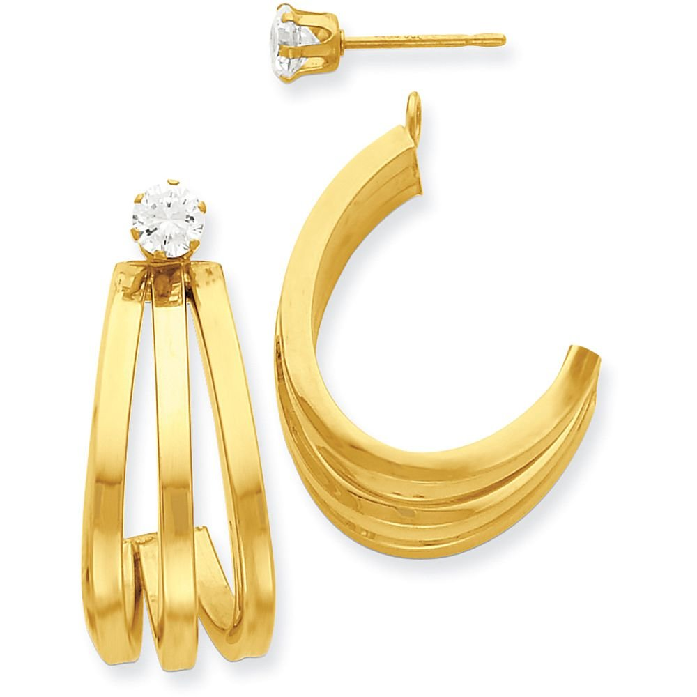 14k Gold Polished Triple J-Hoop Jackets for Stud Earrings (1.06'' Height) - Yellow-Gold
