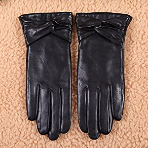 Warmen Women's Lambskin Leather Cold Weather Gloves with Crossing Bow (7.5, Black ( Touchscreen Function/Wool Lining ))