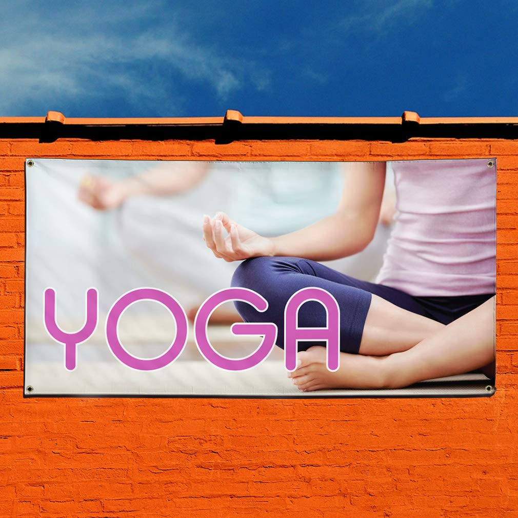 Vinyl Banner Sign Yoga #1 Style A Business Yoga Outdoor Marketing Advertising White Set of 2 Multiple Sizes Available 28inx70in 4 Grommets