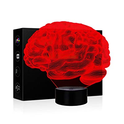 3D Illusion Lamp Night Light 7 Color Changing Touch Switch Table Desk Decoration Lamps Christmas Gift with Acrylic Flat & ABS Base & USB Cable Toy for Brain Lover (Brain): Home Improvement