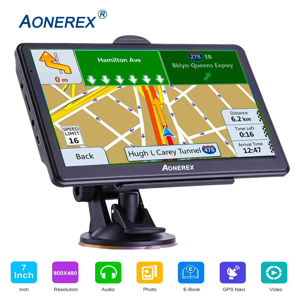 GPS Navigation car,[2019 Upgraded Version] 7 inch HD Capacitive Touch Screen GPS Navigation System with 8G Memory, Attach Sunshade,Free Lifetime Maps by Aonerex