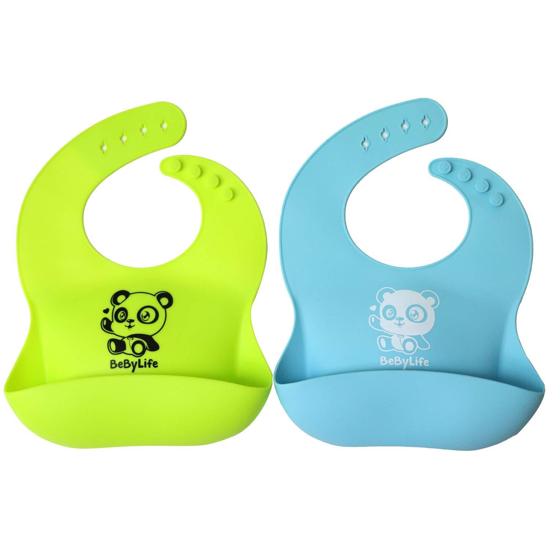 Bavaglini Bebylife per Bambini Impermeabili in Silicone Resistente | Con Disegno Carino | Dotato di Tasca Raccoglipappa | Fatto al 100% di Silicone Lavabile e Privo di BPA Set di 2 Colori
