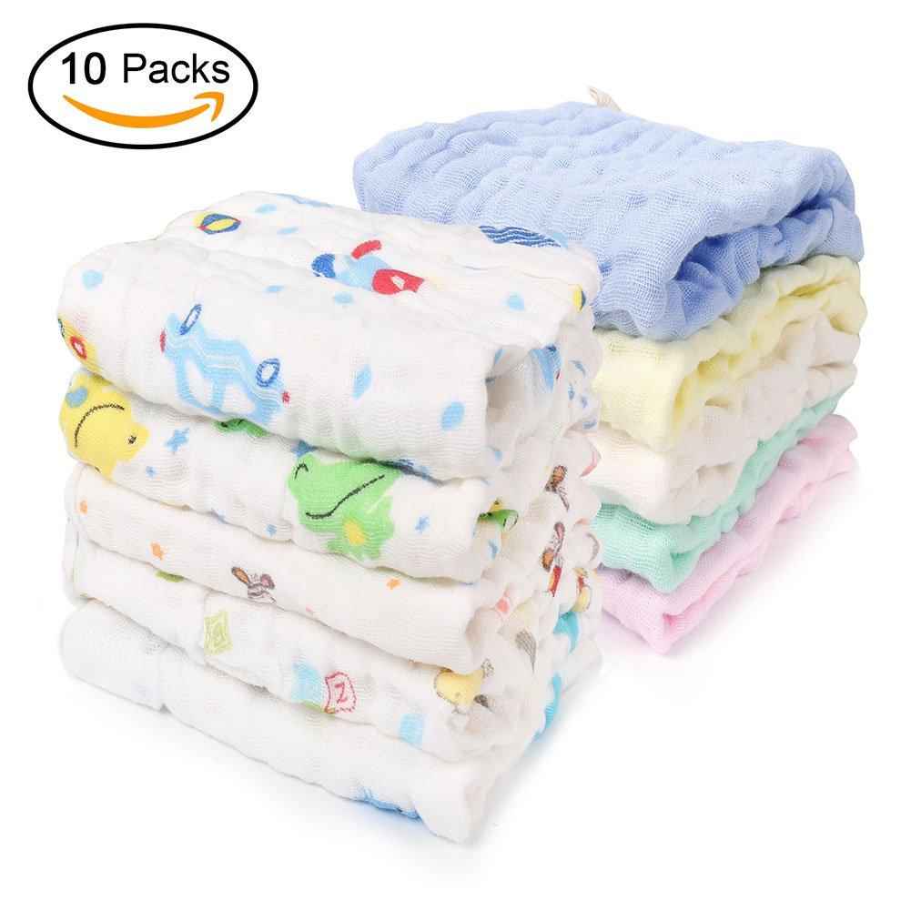 Paquete de 10 Toallitas Bebé, 30x30cm Toallas faciales Muselina recién nacido Iwow
