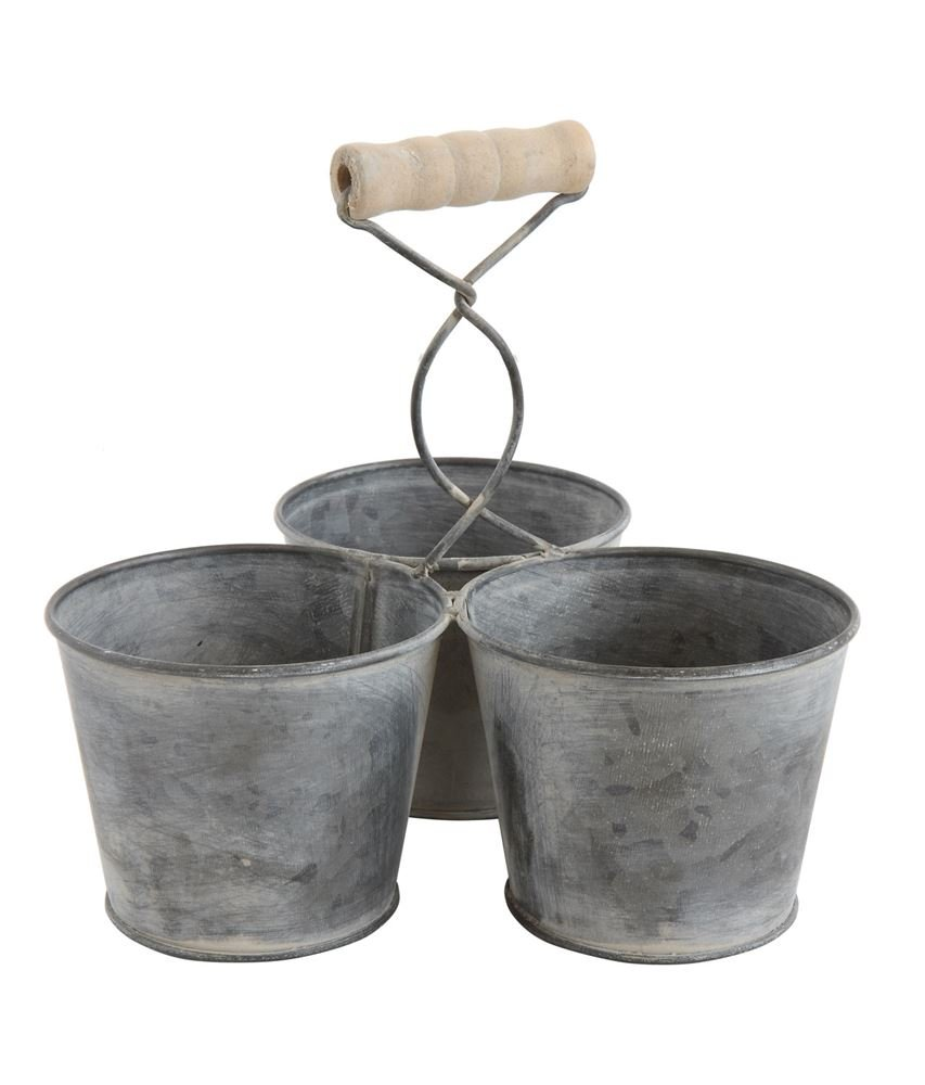 Heart of America Round Galvanized Metal Caddy With Compartments - 4 Pieces