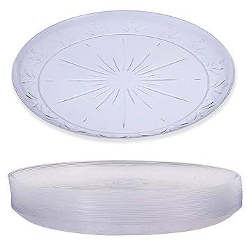 20 Elegante Platos Plástico Duro Desechable, Transparente, 26cm - Lavable & Reutilizable - Vajilla Desechables para Catering Bodas Fiestas Cumpleaños ...