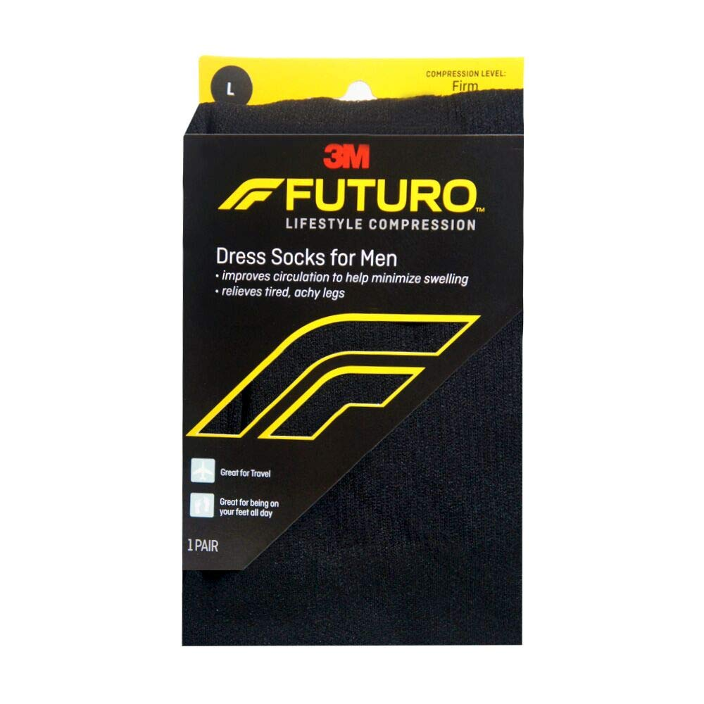 FUTURO Lifestyle Compression Dress Socks For Men Firm Large Black 1 Pair (Pack of 5)
